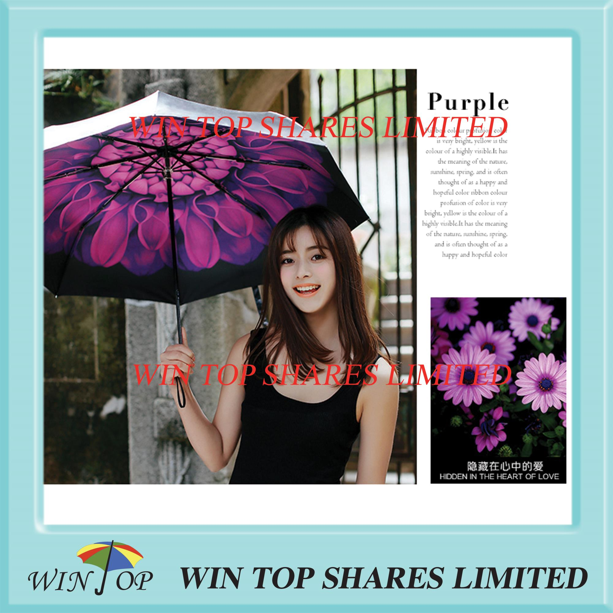 3 folds Anti UV black Violet umbrella