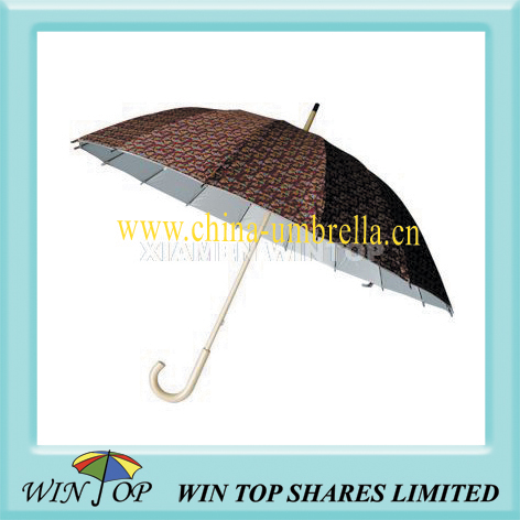 "23"" auto straight wooden sun umbrella"