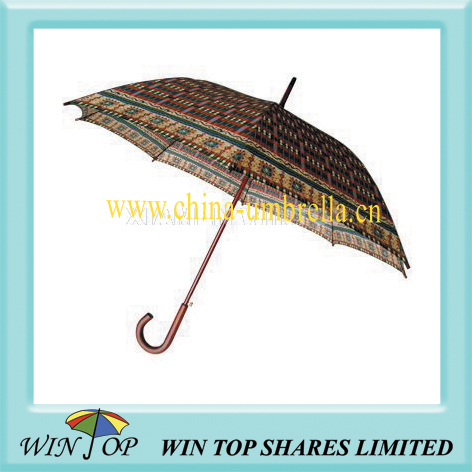 "23"" auto straight wooden craft umbrella"