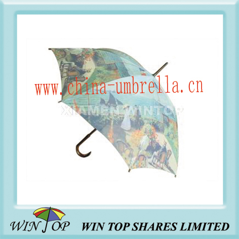 "23"" heat transfer printing wooden umbrella"