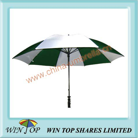 Green and white golf umbrella