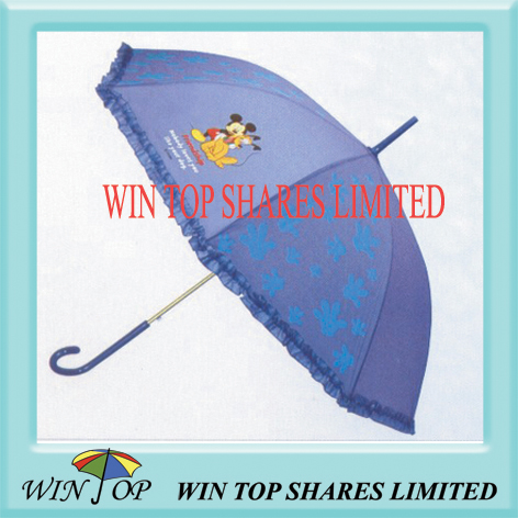 promotion PVC umbrella with mickeylogo and lace